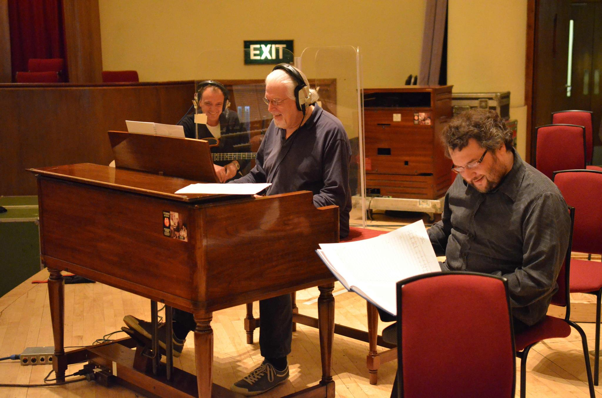 Guy Pratt (bass), Jon Lord, Paul Mann during the Liverpool recording sessions. Photo: Mick Gregory