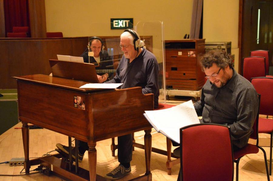 Guy Pratt (bass), Jon Lord, Paul Mann during the Liverpool recording sessions. Photo: Mick Gregory