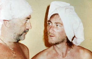 Lord and Glover in towels