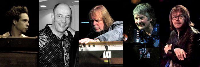 The keyboard players that celebrated Jon: Andy Wallace, Wix Wickens, Rick Wakeman, Don Airey and Nigel Hopkins (+ Paul Mann on Afterwards). Photo: Moth Clark and more