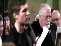 Matthew Barley with Jon Lord during the inaugural performance of Durham Concerto in 2007. Photo from promo film