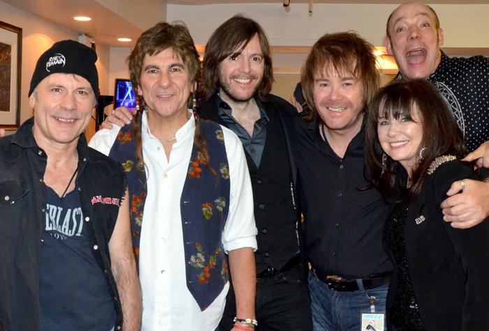 Backstage friends: Bruce Dickinson, Mario Argandoña, Steve Balsamo, Nigel Hopkins, Margo Buchanan, Wix Wickens. Photo courtesy of Nigel Hopkins.