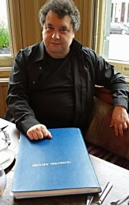 Paul Mann's big book of celebrations - eg. the scores -  photographed on the morning of the concert. Photo: Rasmus Heide