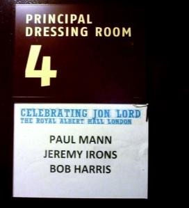 Paul Mann and Bob Harris dressing room at Royal Albert Hall. Photo: Paul Mann