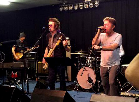 Micky Moody, Glenn Hughes, Bruce Dickinson rehearsing. Photo: Sunflower Jam