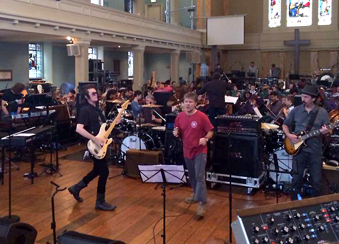 Rehearsal at St. Mary's church, London. Photo: Sunflower Jam