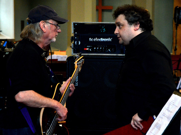 Roger Glover and Paul Mann during rehearsals. Photo: Nigel Hopkins
