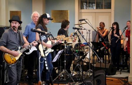 The House Band rehearses at St. Mary's - Micky Moody, Neil Murray, Murray Gould, Mario Argandoña. Photo: Towards Infinity