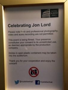Notice informing Royal Albert Hall concert goers of the filming. Photo: Rasmus Heide