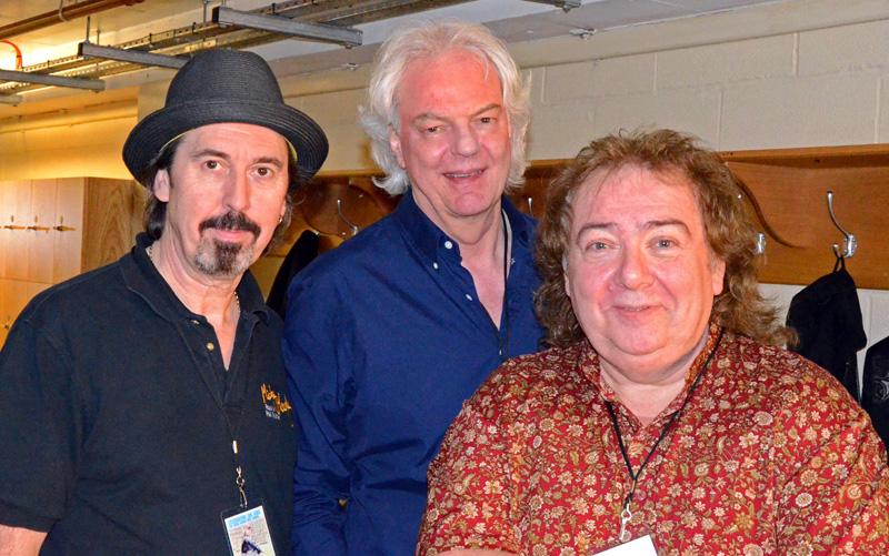 Backstage snakes. Micky Moody, Neil Murray, Bernie Marsden at Royal Albert Hall, April 4 2014. Photo: Nigel Hopkins