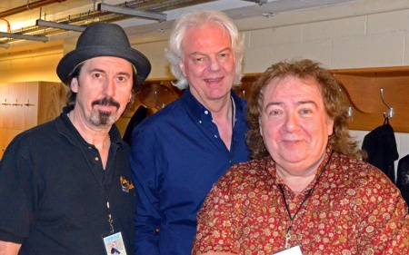 Backstage snakes. Micky Moody, Neil Murray, Bernie Marsden at Royal Albert Hall, April 4 2014. Photo: Nigel Hopkins