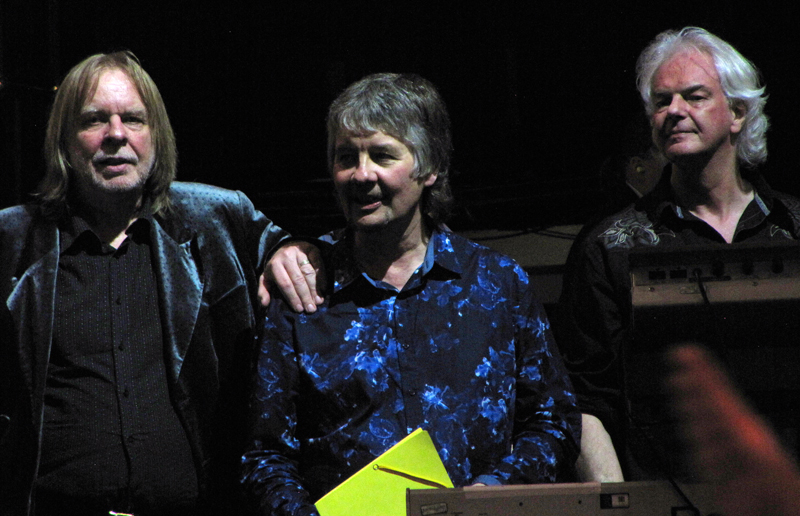 Fusionists extraordinaire. Rick Wakeman, Don Airey, Neil Murray at the end of the evening. Photo: Moth Clark